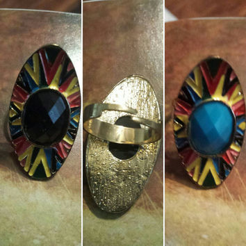 PAINTED RING w/ stoneBLACK  in the middle Adjustable Long  Finger Ring Statement Ring/ Bold Colors