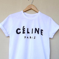 Celine Paris Inspired Logo printed White t-shirt