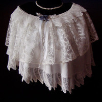 Layered Cover Up Tunic Topper  Vintage Bridal Lace Crochet & Trim Wedding White OOAK Super Feminine Capelet