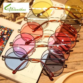 Women Multi-Color Round Sunglasses Golden Frame Glasses Shades Hippie Lennon Vintage Steampunk Unisex Men UV400 Sun Glasses