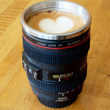 Retro Camera Lens Coffee Mug +Free Gift Christmas Gift Random Necklace