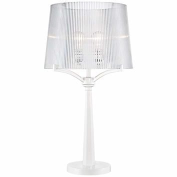 Lola Modern Acrylic Shade White Table Lamp - #5H502 | Lamps Plus