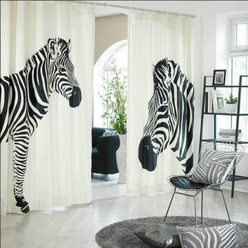 Fashion Zebra Blackout Thicker Soundproof  Cartoon Customize Cotton Window Curtain for Living Room Free Shipping A-60