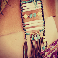 TURQUOISE DREAMS Leather Fringe Bohemian Tribal One of a Kind Ladder Breast Plate Bone Turquoise Necklace