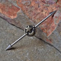 Moon and Star Industrial Barbell 14ga Body Jewelry Ear Jewelry Double Piercing