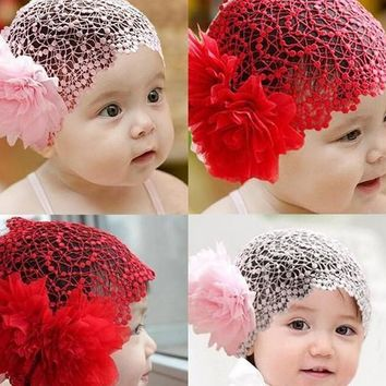 Large flower lace headband