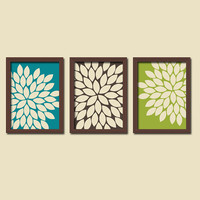 Peacock Colors Turquoise Brown Green Cream Burst Gerbera Daisies Artwork Set of 3 Trio Prints Wall Decor Abstract Art Picture Silhouette