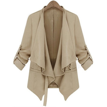 Beige Long Sleeve Belt Casual Trench Coat = 1930424580