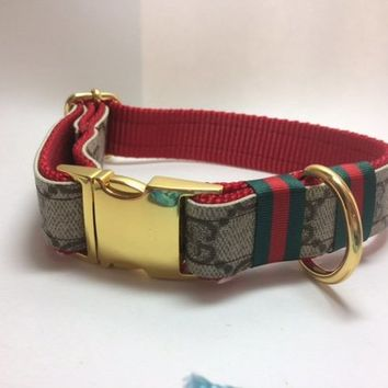 Gucci Dog Collar and Leash 160, Collar 65, Leash 100 Gucci Upcycle, Sizes mini, xsmall,  small, medium, large, x-large, ONLY AUTHENTIC Gucci