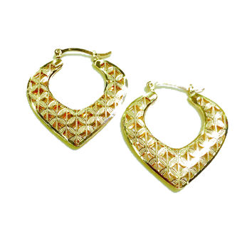 """Ace of spades 1""""X1""""1/2 Gold Plated Earring Hoops"""