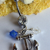 Anchor belly button ring - Stainless steel belly button ring - Silver anchor belly button ring with swarovski crystals - Navy wife