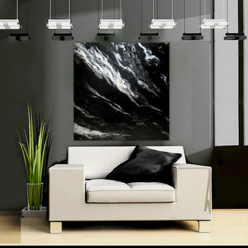 "SALE Large Wall Art Modern Elegant Black and White Original Painting "" cosmic Ocean""   by Holly Anderson Ships Free"