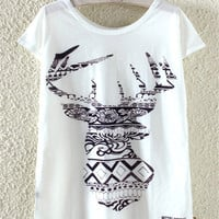 Ethnic Style Round Neck Deer Printed T-shirt