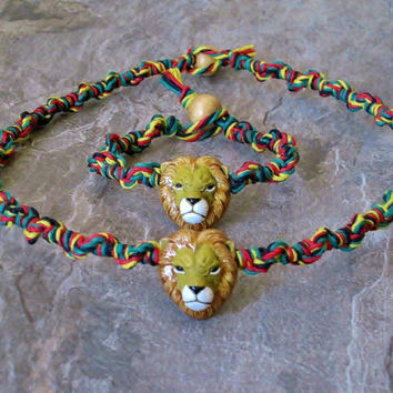 Lion Head Clay Bead Rasta Hemp Bracelet and Choker Set