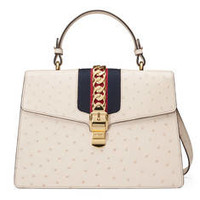 Gucci Sylvie medium ostrich top handle bag