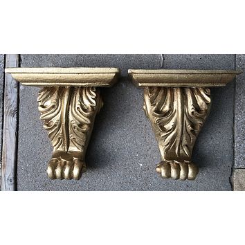 Pair Architectural Salvage Solid Wood French Florentine Gilt Gold Wall Corbel Brackets Ornamental