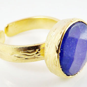 Navy Blue Round Jade Stone Adjustable Cocktail Statement Ring - 22k Matte Gold Plated - 1PC