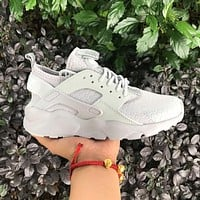 Sale Nike Air Huarache 4 Rainbow Ultra Breathe Men Women Hurache White Running Sport Casual Shoes Sneakers - 108