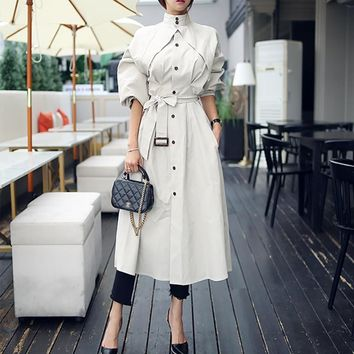 Loose A-line Spring Summer Collar Trench Coats