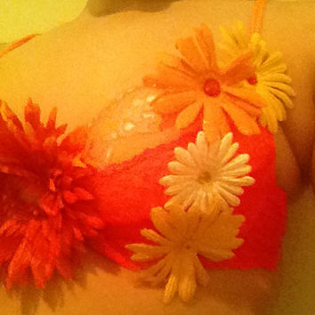 Neon Orange lace daisy Dixie Bra