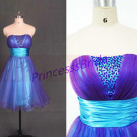Short purple and blue tulle homecoming dress,2014 cute prom dresses with sequins,cheap women gowns for holiday party.