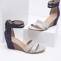 Iris Navy & Stone Wedge Sandal