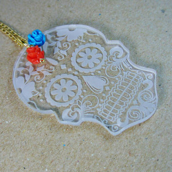 dia de los muertos Sugar skull day of the dead laser cut acrylic mexican calavera necklace orange and blue flowers gold plated chain