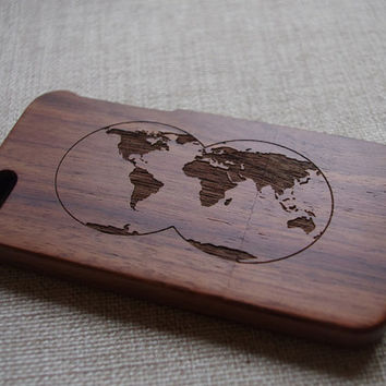 World Map Wood iphone 5 case,Wooden iPhone 5s case,iPhone case with world map