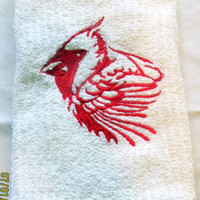 Cardinal Head On White  Kitchen Towel Machine Embroidery