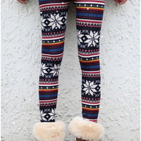 TrendyQueen-Vintage Retro Winter Aztec Floral Leggings Warm Winter Pants leg warmmers (Size: M, Color: Multicolor) = 1919829828