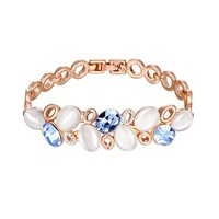 MLOVES Women's Colorful Delicate Diamanted Opal Bracelet