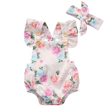 2018 Hot Floral Baby Romper Clothes Set Summer Newborn Baby Girl Ruffled Sleeve Bodysuit Jumpsuit Headband 2pcs Outfit Sunsuit