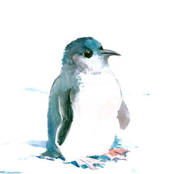 Baby Penguin Painting, originalw atercolor painting 12 x 9 in