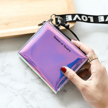 Shining Paint Leather Short Wallet Women Holographic Purse Metallic Color Lanyard Hologram Clutch Female Fashion Luxury Purses