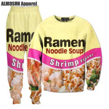 ALMOSUN Shrimp Ramen Food 3D All Over Print Tracksuits Sweatshirts Hipster Casual Drawstring Pants Sportwear Women Men