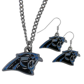 Carolina Panthers Dangle Earrings and Chain Necklace Set FDE170FN