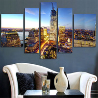 5 Pcs No Frame Wall Painting Modern Home Decoration City View Canvas Art Print Painting Wall Modular Picture For Living Room