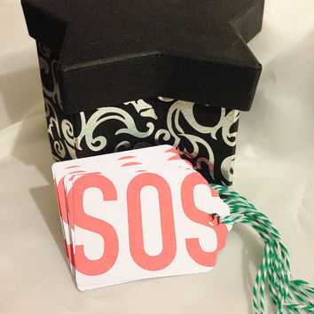SOS Gift Tags, Christmas Hanging Labels, Card Stock, Reused Printed Card, Hang Tag, Set of 6, Blank Set