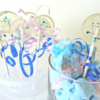 12 Blue Cotton Candy Lollipops-Gourmet Artisan Candy-Carnival-Circus Theme-Kids Birthday-Hard Candy Suckers-Party Favors- Baby Shower- Boy