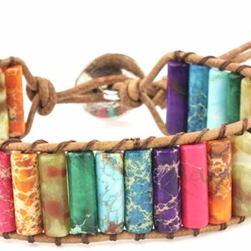 Leather Chakra Handmade Imperial Jasper Wrap Adjustable Bead Bracelet