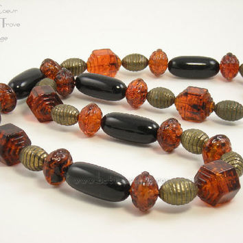 Vintage Necklace Chunky Beads 1980s Fall Colors Brown Gold Black