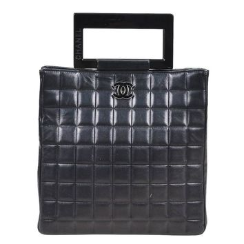 Chanel Black Lambskin Leather Square Quilted Resin Handle Bag