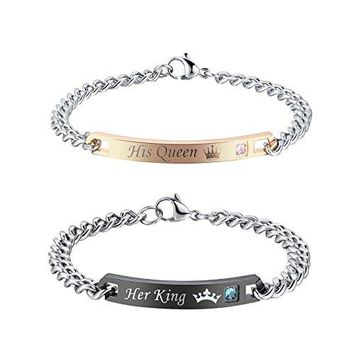 GAGAFEEL His Hers Matching Set Titanium Stainless Steel His Queen Her King Couple Bracelet 2 pcs with Gift Box