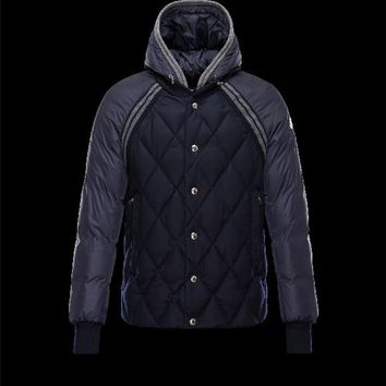 Moncler ARAMIS Hood Dark blue Jackets Flannel Wool Mens 41456790QT