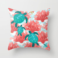 Sea Turtles in The Coral - Ocean Beach Marine Throw Pillow by Shelly Penko