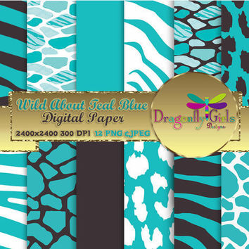 80% OFF Sale WILD About Light Teal, digital paper, instant download, commercial use, printable, scrapbook papers, background