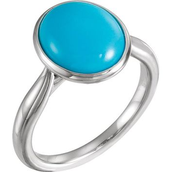 14K White Rose or Yellow Gold 12x10mm Oval Cabochon Turquoise Ring