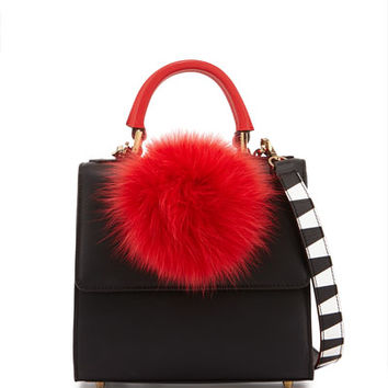 Les Petits Joueurs Alex Mini Leather Fur-Pom Bag, Black/Red