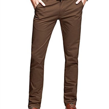 Mens Slim-Tapered Flat-Front Casual Pants