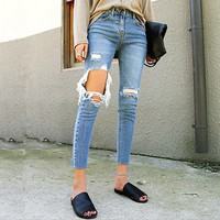 Brand Ripped Jeans Women Street Denim Pants Big Holes Torn Casual Trousers Skinny Pencil Pants Female Ankle Jeans